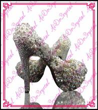 Aidocrystal white custom rhinestone Peacock Decoration women pumps shoes, bridal wedding party fashion platform high heels