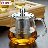 Promotional Custom Heat Resistant Glass Teapot With Tea Strainer