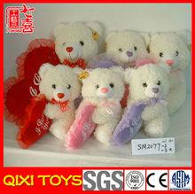 white plush bear valentine gift with heart pillow ,valentine day plush bear