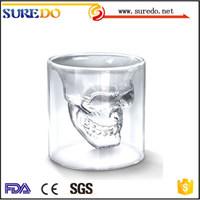 skull shot Handmade Clear Double Wall Glass Wholesale Tea Cups