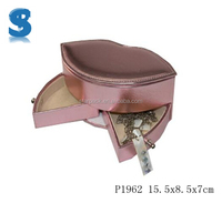 High Quality Kisses Look PU Leather Travel Cosmetic Gift Box Jewelry Packaging Case With Two Ways Drawer P1962