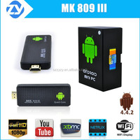2015 best android mini tv box mk809iii4k quad core rk3188 android smart tv stick/dongle hdmi 2.0 streaming media player