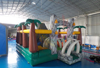 Used dinosaur theme Inflatable adventure playground with slide