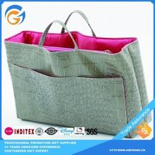 Korea Supplied Custom Gray Tote Leather Bag no Minimum