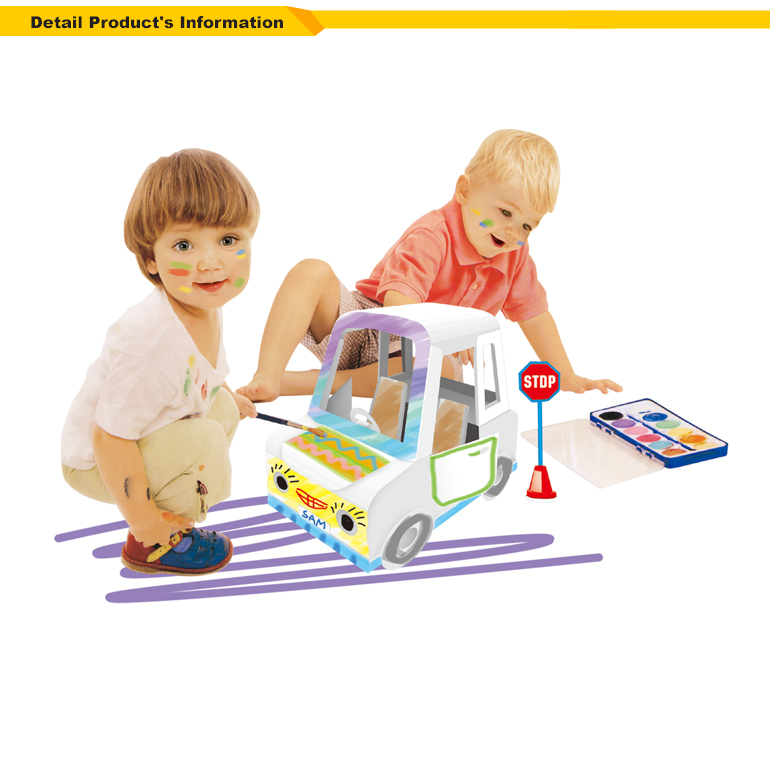 Colorido niños pintando juguetes creativos 3d rompecabezas coche ...
