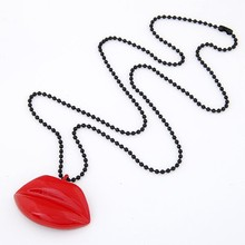 ODM/OEM Jewelry Factory lip necklace, jewelry funny necklace, lip gloss necklace