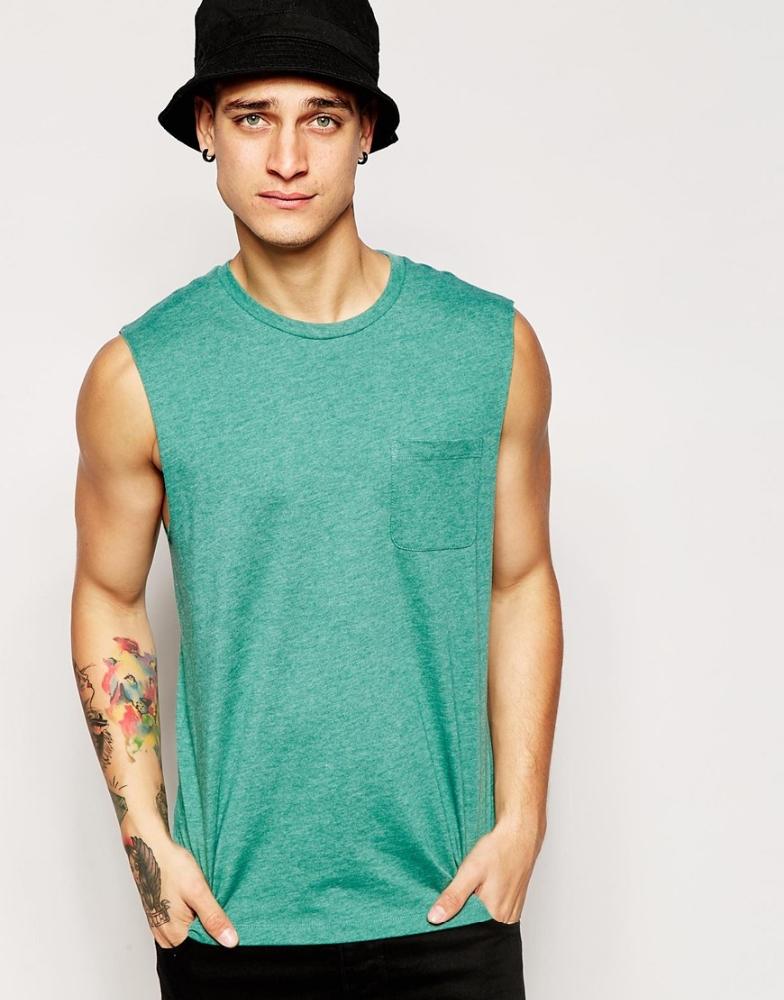 Sleeveless Cotton Men Plain T Shirt With Pocket Plain