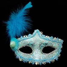 PVC-016 Yiwu Caddy Venetian women half face halloween dress ball PVC masquerade mask feather, party mask