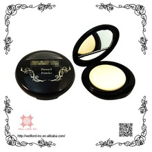 Double layer round cosmetic powder case with mirror
