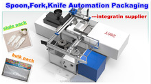 pick stack pack robot arm disposable tableware cutlery fully automatic robotic packing machine