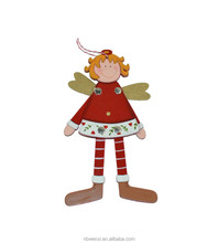 Hanging wooden angel long feet christmas tree decoration home decoration