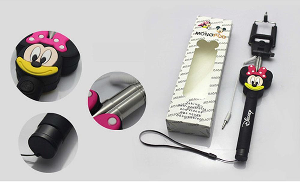 Пользовательские кабель проводной Selfie ручной придерживайтесь монопод, мультфильм проводная Selfie палка с логотипом