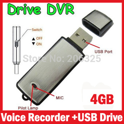 4GB Mini Dictaphone Digital USB Activated Voice Recorder Sound Recorder+Usb Flash Drive Function With Retail Boxes
