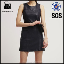 OEM fashion sexy dress lady style black sleeveless faux leather dress