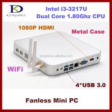 Kingdel barebone mini pc Client 4*USB 3.0, 2*USB 2.0, 1080P HDMI, 3D Game Computer, Card Reader, WiFi, VGA*1