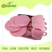 4 piezas por juego de venta caliente silicona del molde, de silicona taza de té de molde de la torta set