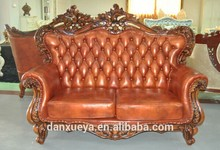 excellent hand carved 3 pieces brown leather sofas for sale DXY-A09#
