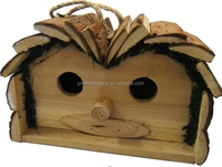 Wooden Deluxe Love Bird House with bark roof