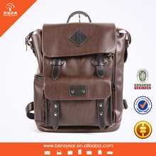 leather backpack factory wholesale fashion design Korea PU leather laptop backpack for man