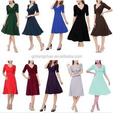OEM Wholesale Women Ladies Rockabilly Business Office Wear Dresses Work Swing Cocktail Evening Party Wrap Dress