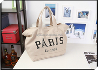 Wholesale Khaki color large volume durable paris series canvas handbag form China guangzhou manufacturer