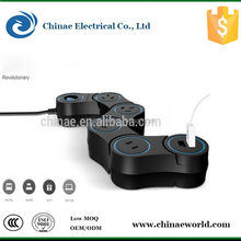 New type retractable electrical cord reel extension socket/outlet/lead with a USB charger