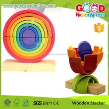 2015 Popular Toy 14 Bright Rainbow Stacking Pieces Combined Wooden Educational Toys