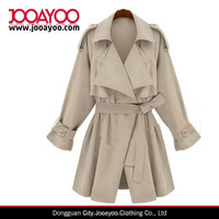 Fashion Women Ladies Beige Double Collar Storm Flaps Long Sleeve Trench Coat