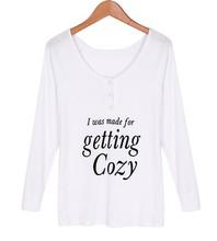 Fashion Women Ladies Long Sleeve O-Neck Top Blouse White Blouses SV019503