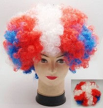 fashionable higher quality low price synthetic football fan wig hair accessories kids