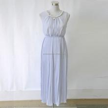 Fashionable and elegant new purple women sleeveless maxi pleating dress