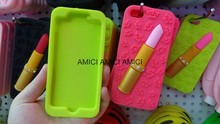 High Quality lipstick rubber silicon fashion case cover case for Apple iphone Samsung cell phone covers