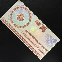 21*15cm large size flash gold tattoo sticker, metallic gold silver bronze tattoo and holographic red and blue colors tattoo