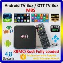 2015 Hottest OTT TV Box 4k Amlogic s812 XBMC Kodi 14.2 Quad Core Android 4.4 Smart TV Box, M8S Android TV Box