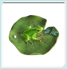 Fairy garden decorative frog and dragonfly on lotus leaf statue