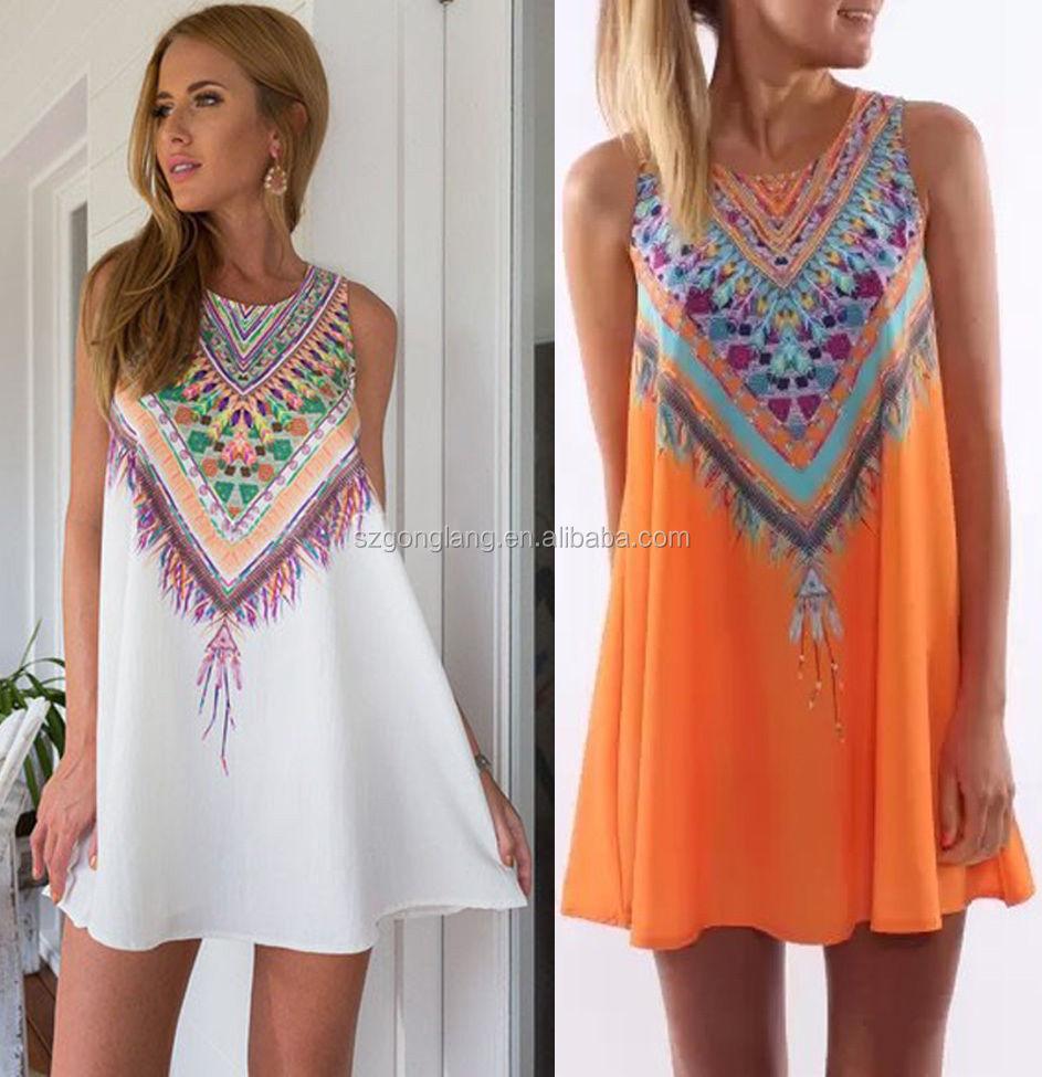 Wholesale New Sleeveless Summer Boho Beach Bohemian Clothing Bohemian Dress