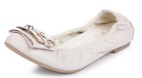 New arrival crystal buckle decorated flats ballerina shoes womens high quality foldable ballet shoes 2015 new style shoes flats