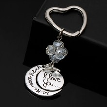 2015 new design I LOVE YOU word keychain, the moon represents heart pendant keychain for couple