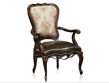 Antique Reproduction Genuine Leather and Fabric Arm Chair