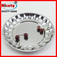 35cm non-slip stainless steel round metal mini bar serving tray