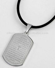 Stainless Steel / Black Cord / Tablet Message Pendant / Men's Necklace