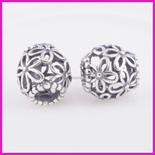 925 Sterling Silver Beads Hollow Flower Charm Beads Women Jewelry Fits European Style Jewelry Charm beads Bracelets & Necklaces