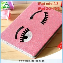 Girls Lovely Bling Eyes Case For iPad 6/ For iPad Air2 Leather Shiny PU Silk Covers Leather Case