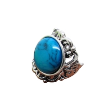 Turquoise carved antique silver ring round texture retro ring wholesale factory direct