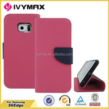 Hot selling high quality for samsung s6 edge flip pu leather cover case