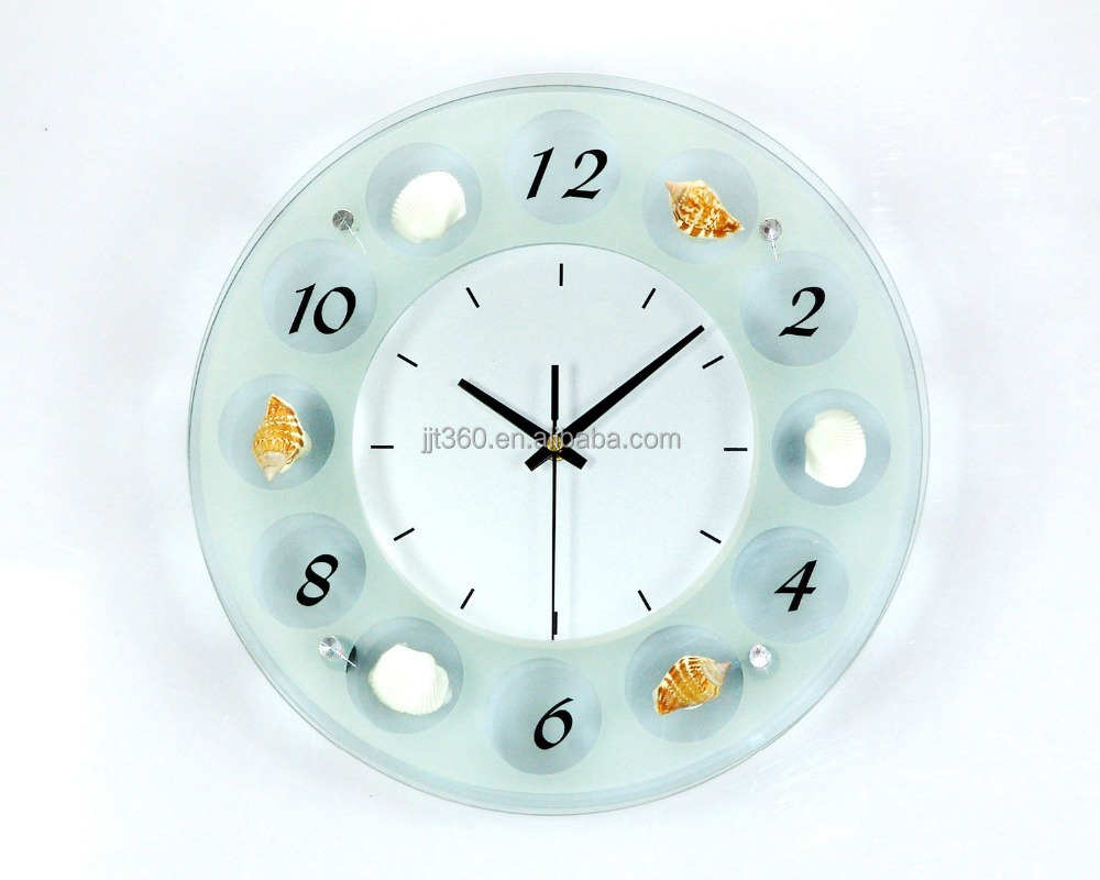 Round Digital Wall Clock Glass Material With High Quality