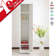 cheap corner white wardrobe / narrow single door girls white clothes cabinet bedroom furniture design