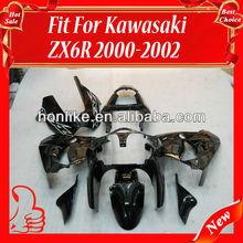 ZX6R 00 02 Fairing Kits for KAWASAKI Ninja ZX6R 00-02 2000-2002 ZX-6R 2000 2001 2002 ABS Motorcycle Body Kits Black