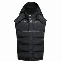Custom Outer Wear Goose Down Puffer Vest Duck Down Sleeveless Waistcoat Cotton Mens Winter Vests With Hood