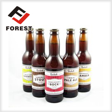 Customized adhesive paper labels for beer bottles
